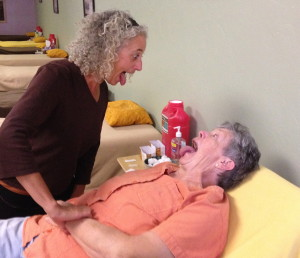 Michele Smith incorporates her fun sense of humor to the acupuncture table.